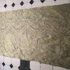 Antigüedades: 158 X 91 TELA BROCADO DAMASCO COLOR VERDE VIRGEN BALCOLERA SAYA MANTO CAPILLA SEMANA SANTA. Lote 211392347