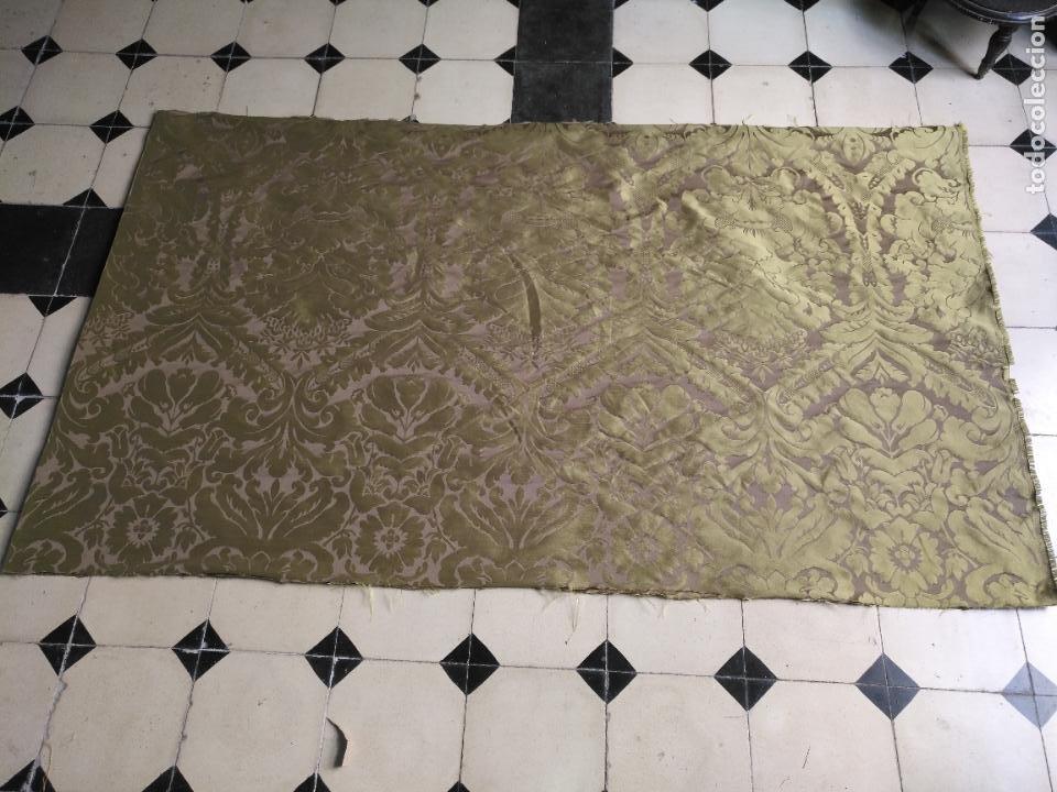 Antigüedades: 158 x 91 tela brocado damasco color verde virgen balcolera saya manto capilla semana santa - Foto 2 - 270937008