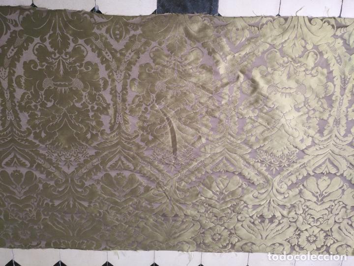Antigüedades: 158 x 91 tela brocado damasco color verde virgen balcolera saya manto capilla semana santa - Foto 3 - 270937008