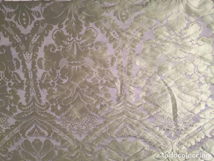 Antigüedades: 158 x 91 tela brocado damasco color verde virgen balcolera saya manto capilla semana santa - Foto 4 - 270937008