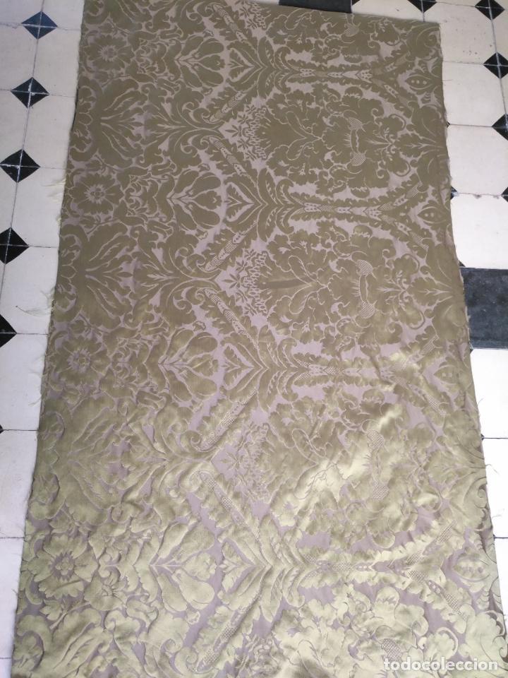 Antigüedades: 158 x 91 tela brocado damasco color verde virgen balcolera saya manto capilla semana santa - Foto 6 - 270937008