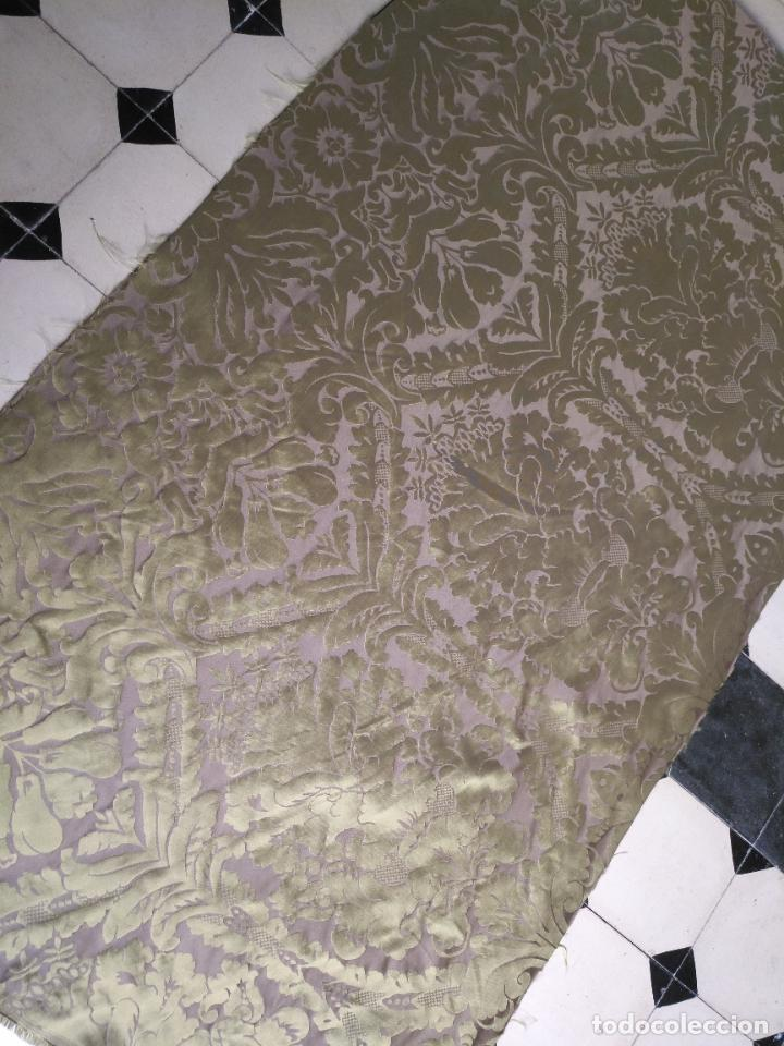 Antigüedades: 158 x 91 tela brocado damasco color verde virgen balcolera saya manto capilla semana santa - Foto 8 - 270937008