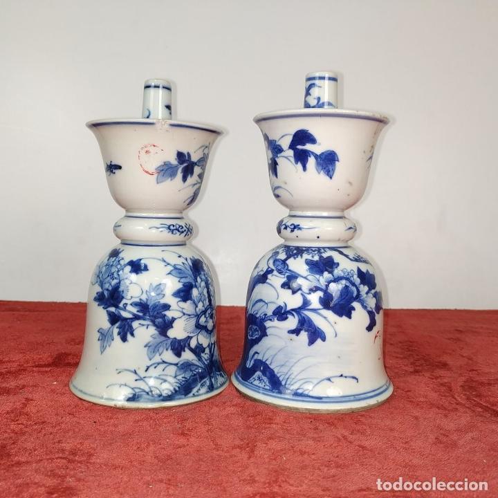 Antigüedades: PAREJA DE LAMPARAS CHINAS DE ACEITE. PORCELANA ESMALTADA. CHINA. FINALES SIGLO XIX - Foto 3 - 211394216