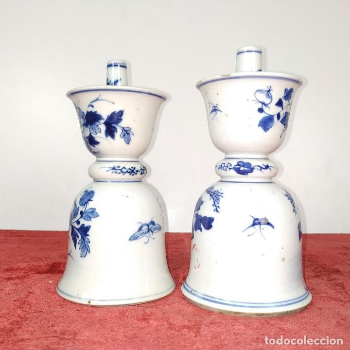 Antigüedades: PAREJA DE LAMPARAS CHINAS DE ACEITE. PORCELANA ESMALTADA. CHINA. FINALES SIGLO XIX - Foto 4 - 211394216