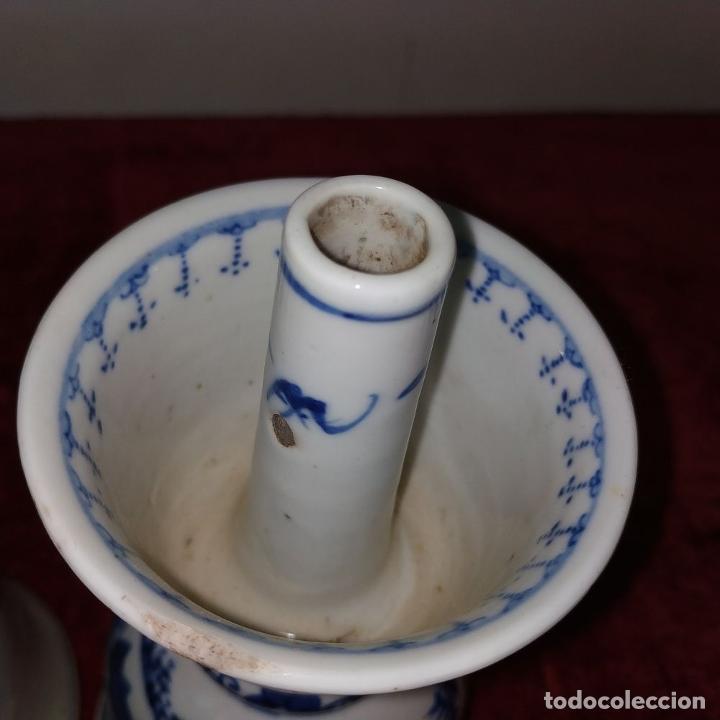 Antigüedades: PAREJA DE LAMPARAS CHINAS DE ACEITE. PORCELANA ESMALTADA. CHINA. FINALES SIGLO XIX - Foto 5 - 211394216