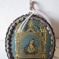 Antigüedades: ANTIGUO RELICARIO CON MARCO DE PLATA. NUESTRA SEÑORA DE LOS DOLORES (GRABADO). 7 X 5 CM. Lote 211396532