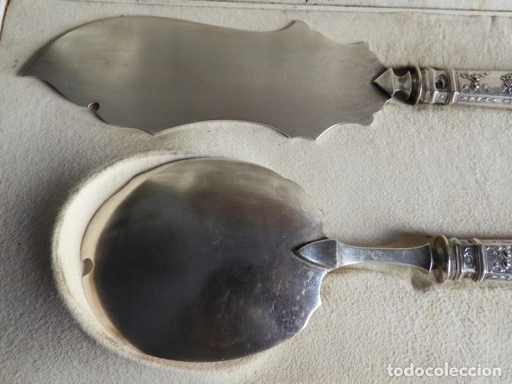 Antigüedades: PRECIOSO ESTUCHE DE CUBIERTOS DE SERVIR HELADO DE PLATA IMPERIO - Foto 7 - 211403279