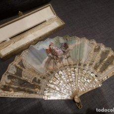 Antigüedades: ABANICO COLOMINA NÁCAR BLANCO. Lote 211404697