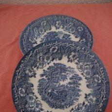 Antigüedades: LOTE DE 2 PLATOS DE LOZA INGLESA,AZUL. Lote 211414456