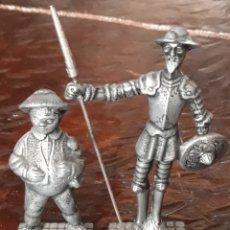 Antigüedades: FIGURAS DE METAL DON QUIJOTE DE LA MANCHA Y SANCHO PANZA. Lote 211421460