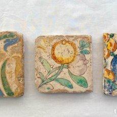 Antigüedades: CUADRO DE AZULEJOS (3) - ARISTA O CUERDA SECA ESPAÑA - INICIOS DEL SIGLO XVI. Lote 211428752