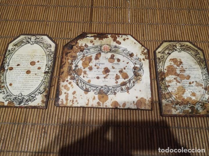 Antigüedades: Tríptico sacras bronce dorado sigloXIX - Foto 2 - 211437185