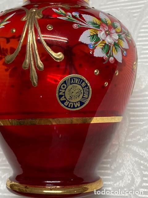 Antigüedades: Precioso jarrón de Murano con flores de porcelana - Foto 2 - 211438566