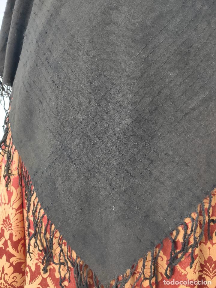 Antigüedades: Antiguo mantón de algodón grueso, color ala de mosca - Foto 3 - 211456204