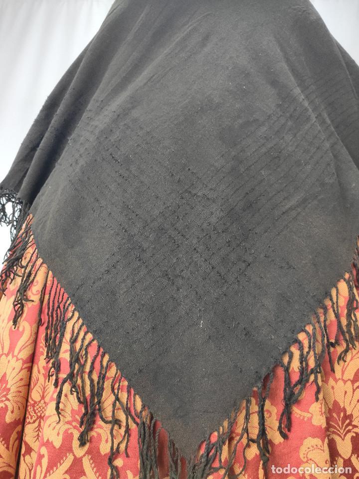 Antigüedades: Antiguo mantón de algodón grueso, color ala de mosca - Foto 5 - 211456204