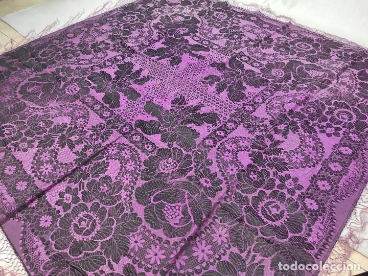 Antigüedades: Antiguo mantón de gro morado - Foto 8 - 211458002