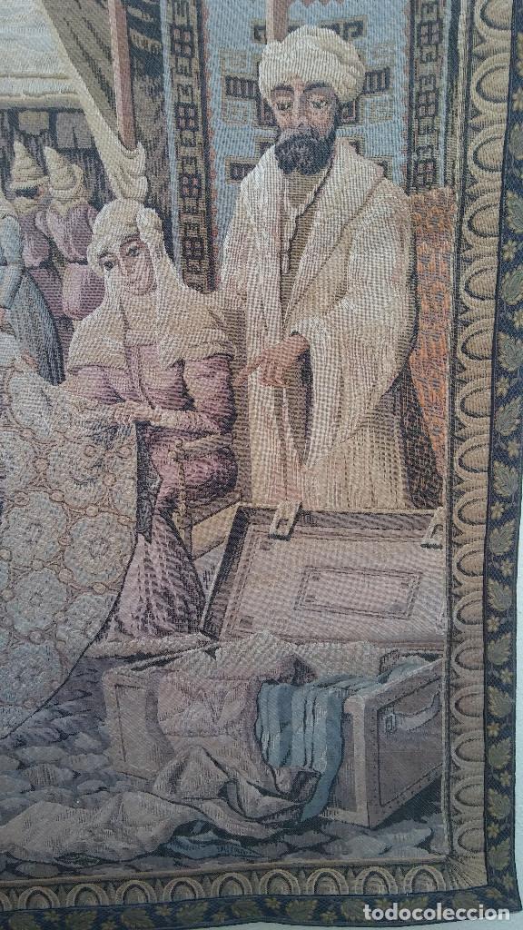 Antigüedades: ANTIGUO TAPIZ ESCENA MERCADO MEDIEVAL, MOROS Y CRISTIANOS, MUY BUENA CONSERVACIÓN. GRAN TAMAÑO - Foto 2 - 211475431