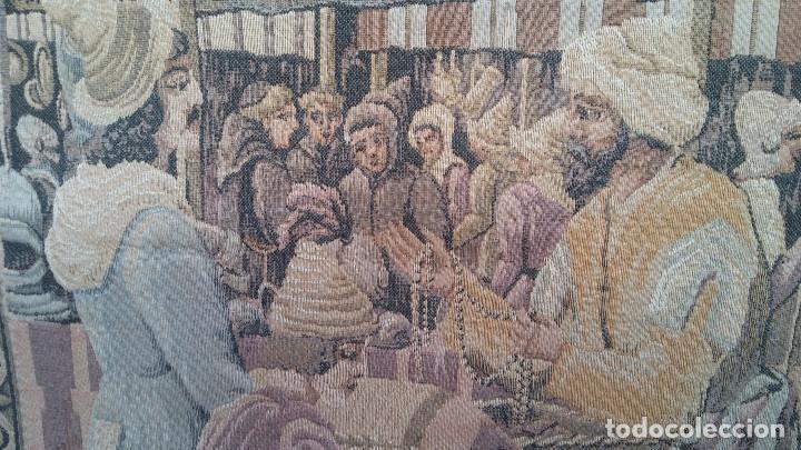 Antigüedades: ANTIGUO TAPIZ ESCENA MERCADO MEDIEVAL, MOROS Y CRISTIANOS, MUY BUENA CONSERVACIÓN. GRAN TAMAÑO - Foto 6 - 211475431