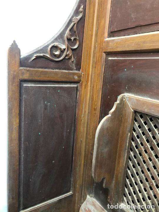 Antigüedades: GRAN CONFESIONARIO EN MADERA SIGLO XIX CON MEDIDAS 260X150X80 CM - Foto 3 - 211499470