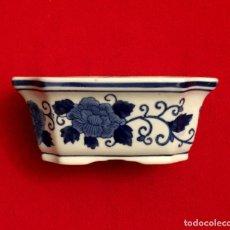 Antigüedades: ANTIGUO CENTRO - JARDINERA DE PORCELANA CHINA AZUL Y BLANCA.. Lote 211501335