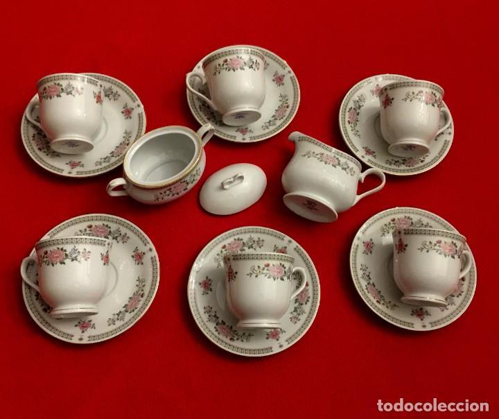 Antigüedades: JUEGO DE CAFÉ DE PORCELANA FINA CON FILOS DE PLATA - 6 SERVICIOS - 14 PIEZAS. - Foto 7 - 211510229