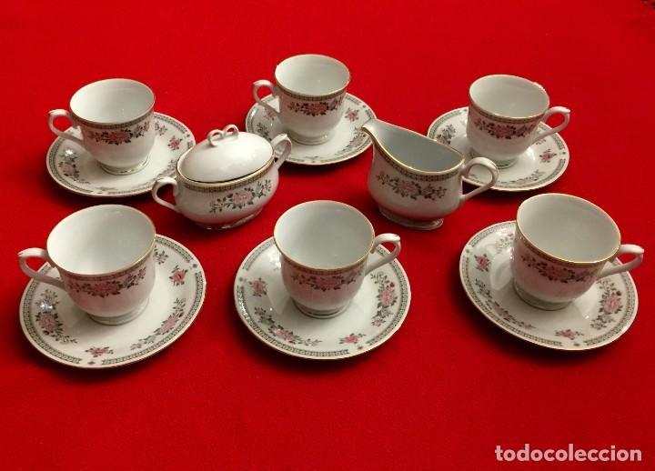 Antigüedades: JUEGO DE CAFÉ DE PORCELANA FINA CON FILOS DE PLATA - 6 SERVICIOS - 14 PIEZAS. - Foto 9 - 211510229