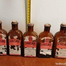 Antigüedades: LOTE FRASCOS ANTIGUOS DE FARMACIA SANASMOL. Lote 211513257
