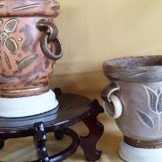 Antigüedades: DOS TIESTOS DE ARTESANIA DE BARRO COCIDO. Lote 211518480