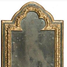 Antigüedades: PAREJA DE MARCOS EN MADERA TALLADA, DORADA Y POLICROMADA. SIGLO XVIII. 49 X 38 CM. CADA UNO. Lote 211528076
