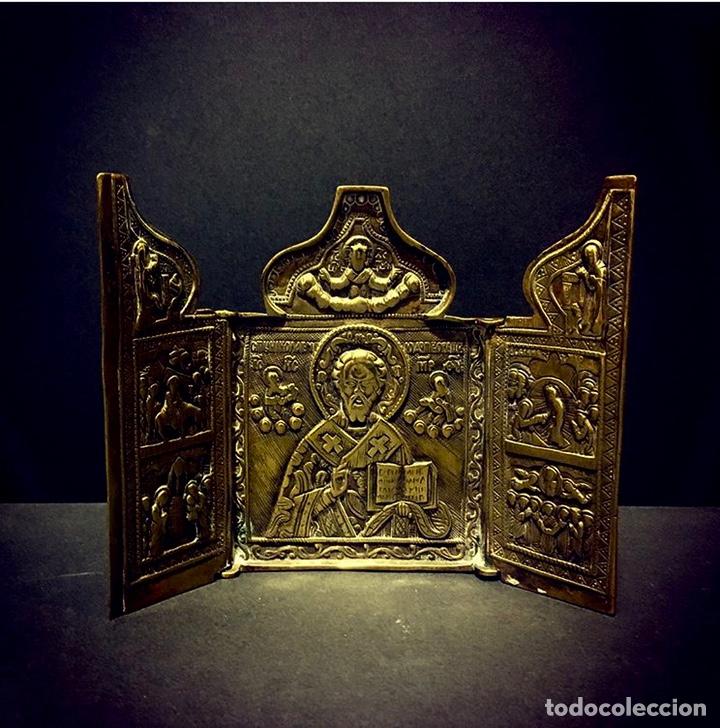 ÍCONO DE VIAJE RUSO SIGLO XVIII-XIX (Antigüedades - Religiosas - Ornamentos Antiguos)