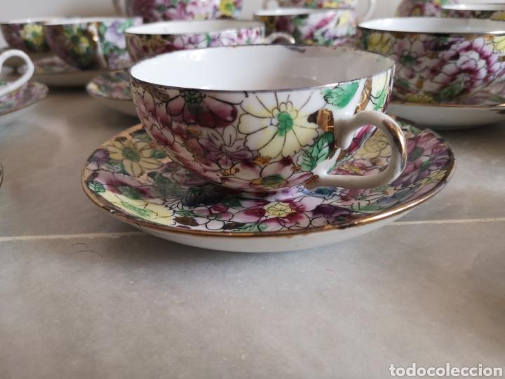 Antigüedades: Juego de te porcelana de Macao con marca troquelada en las tazas - Foto 2 - 211596321
