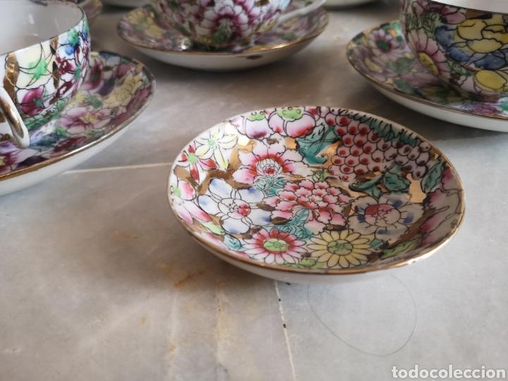 Antigüedades: Juego de te porcelana de Macao con marca troquelada en las tazas - Foto 3 - 211596321