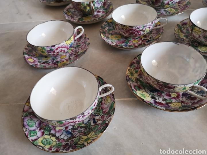 Antigüedades: Juego de te porcelana de Macao con marca troquelada en las tazas - Foto 4 - 211596321