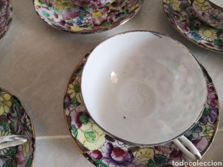 Antigüedades: Juego de te porcelana de Macao con marca troquelada en las tazas - Foto 5 - 211596321