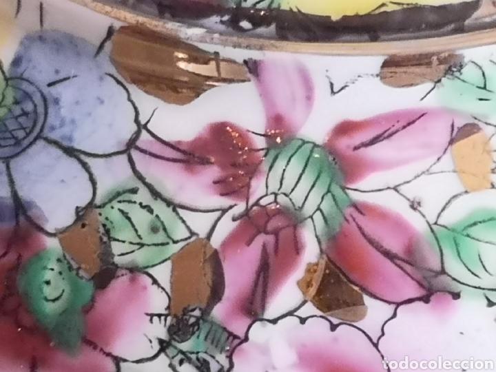 Antigüedades: Juego de te porcelana de Macao con marca troquelada en las tazas - Foto 7 - 211596321
