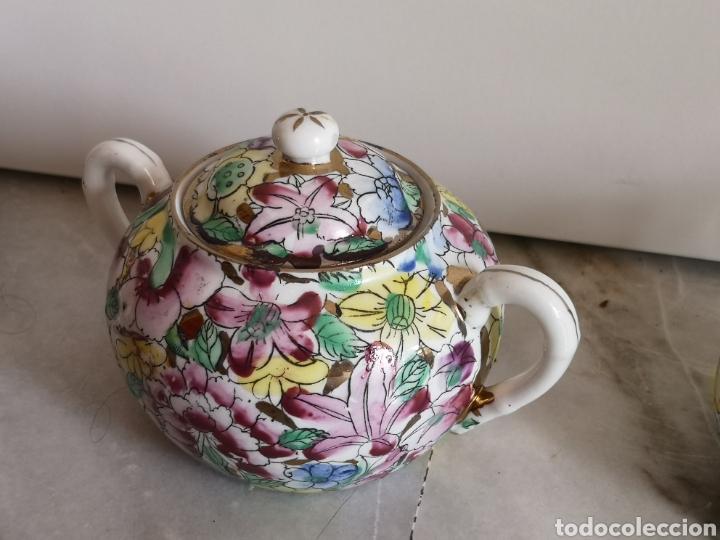 Antigüedades: Juego de te porcelana de Macao con marca troquelada en las tazas - Foto 8 - 211596321