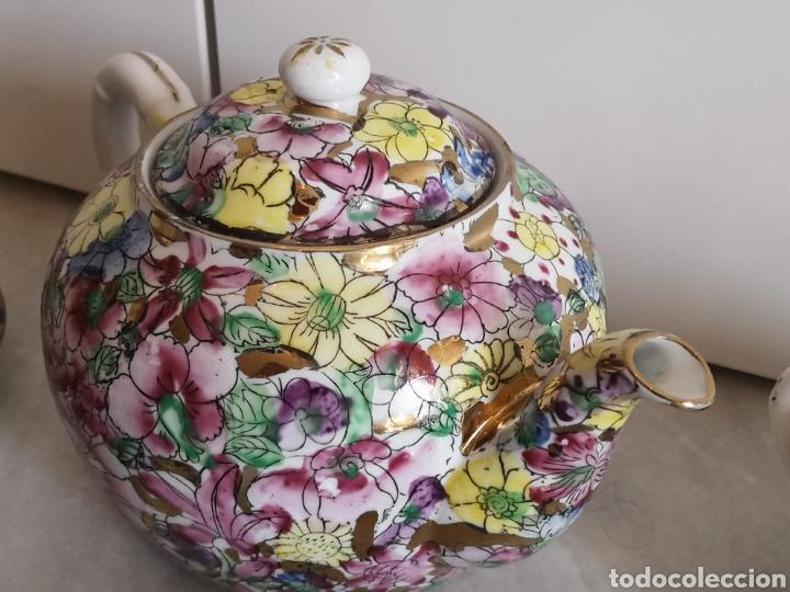 Antigüedades: Juego de te porcelana de Macao con marca troquelada en las tazas - Foto 9 - 211596321