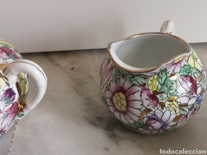 Antigüedades: Juego de te porcelana de Macao con marca troquelada en las tazas - Foto 10 - 211596321