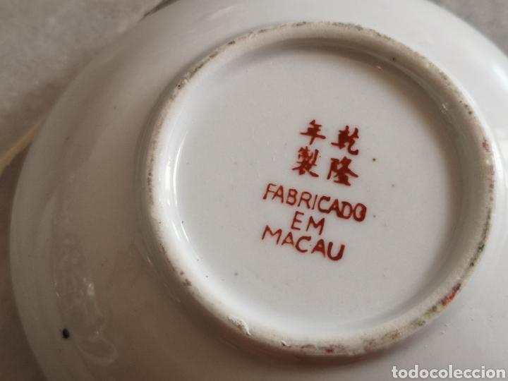 Antigüedades: Juego de te porcelana de Macao con marca troquelada en las tazas - Foto 11 - 211596321