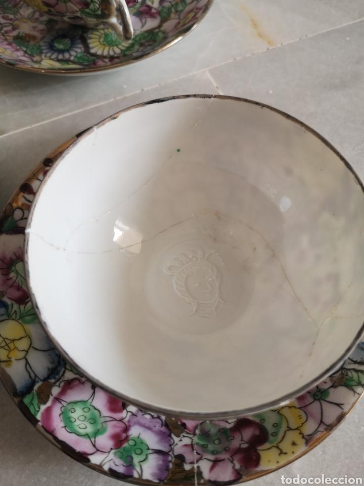 Antigüedades: Juego de te porcelana de Macao con marca troquelada en las tazas - Foto 12 - 211596321