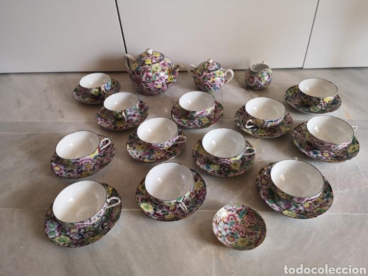 JUEGO DE TE PORCELANA DE MACAO CON MARCA TROQUELADA EN LAS TAZAS (Antigüedades - Porcelanas y Cerámicas - China)
