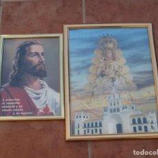 Antigüedades: LOTE DE 2 CUADROS RELIGIOSOS CON CRISTAL.. Lote 211596954