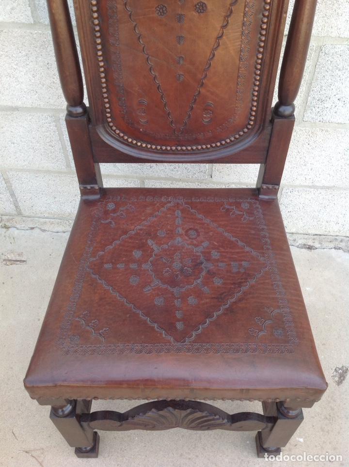 Antigüedades: ANTIGUA SILLA CUERO REPUJADO - Foto 4 - 211601695