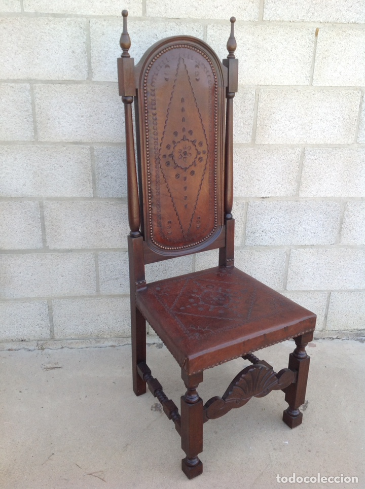 ANTIGUA SILLA CUERO REPUJADO (Antigüedades - Muebles Antiguos - Sillas Antiguas)