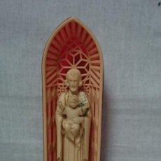 Antigüedades: CAPILLA ALTAR CON LA FIGURA DE SAN JOSÉ CON NIÑO JESÚS - MADE IN HONG KONG. Lote 211602516
