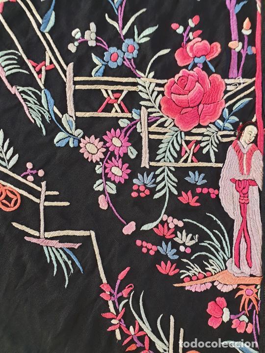 Antigüedades: EXCEPCIONAL MANTON DE MANILA DE EXPORTACION CHINA,DINASTIA QING,S. XIX - Foto 15 - 211604687