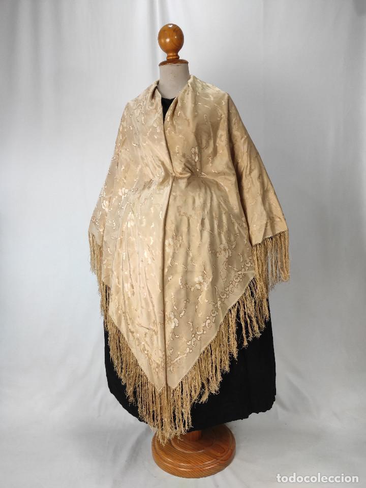 ANTIGUO PAÑUELO DE GRO. MANTÓN (Antigüedades - Moda - Mantones Antiguos)