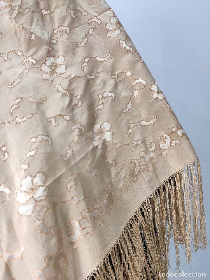 Antigüedades: Antiguo pañuelo de gro. Mantón - Foto 5 - 211606861