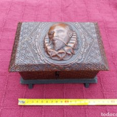 Antigüedades: CAJA JOYERO,PUROS, TABACO REPUJADA CERVANTES/EL QUIJOTE/TABACO/CIGARRILLOS/PUROS. Lote 211615324