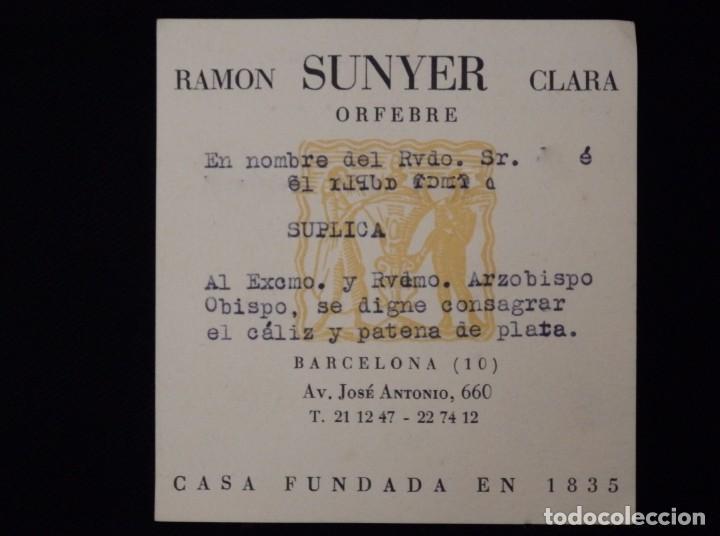 Antigüedades: Cáliz, patena y cucharilla en su estuche. Plata dorada y plata velada. Punzones de Ramón Sunyer. - Foto 15 - 211623361